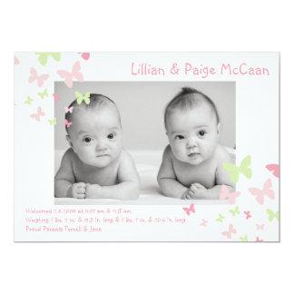 la fille 5x7 jumelle le faire-part de naissance de carton d'invitation  12,7 cm x 17,78 cm