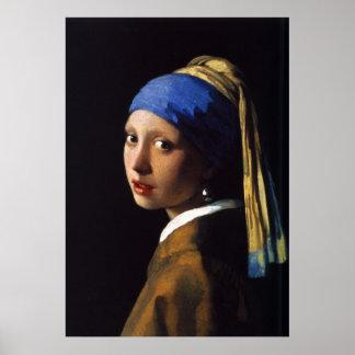La fille avec la boucle d'oreille Johannes Vermeer Poster