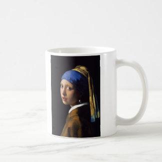 La fille avec la boucle d'oreille Johannes Vermeer Mug Blanc