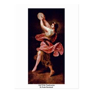 La fille avec le tambour de basque est par montée  carte postale