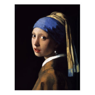 La fille avec une boucle d'oreille de perle par carte postale