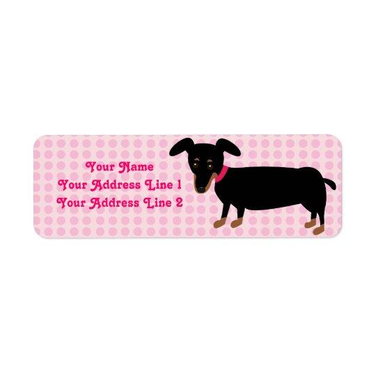 La fille de Doxie avec le rose pointille l'arrière Étiquette D'adresse Retour