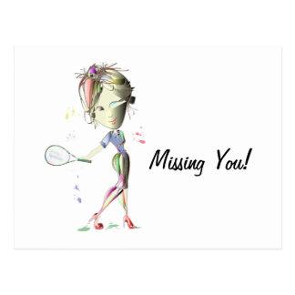 La fille de Mlle-ajustement joue au tennis ! Carte Postale
