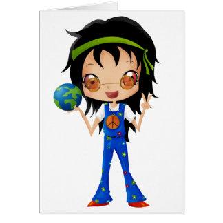 La fille hippie badine la terre de paix carte de vœux