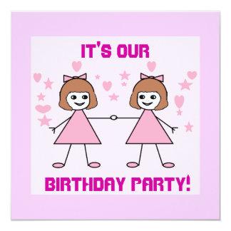 La fille jumelle, il est notre, fête carton d'invitation  13,33 cm