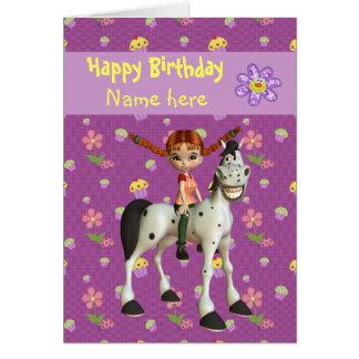La fille, le cheval et les fleurs mignons ont pers carte de vœux