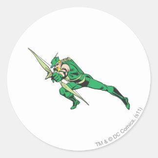 La flèche verte se tapit sticker rond