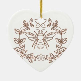 La fleur de café de bourdon part de l'icône ornement cœur en céramique