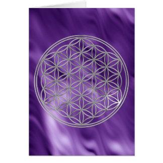 La fleur de l'argent de la vie  , lila ondule carte de vœux