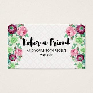 La fleur florale se réfèrent une référence d'ami cartes de visite