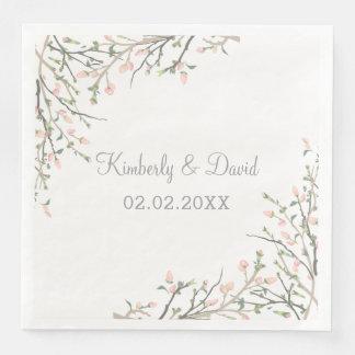 La floraison rougissent mariage floral serviettes en papier