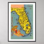 La Floride vintage, Etats-Unis - Affiche