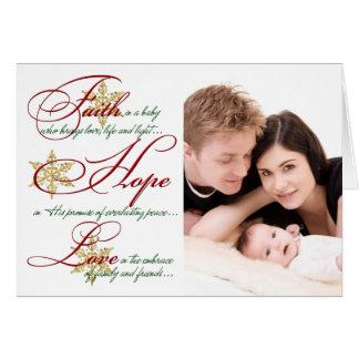 La foi, espoir, aiment le rouge, carte de Noël de