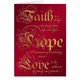 La foi, espoir, aiment le rouge et la carte de