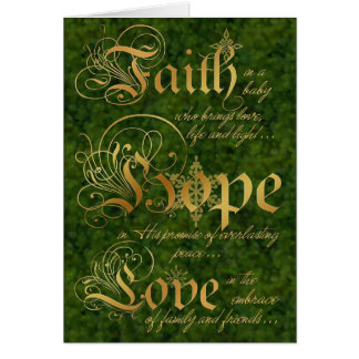 La foi, espoir, aiment le vert et la carte de Noël