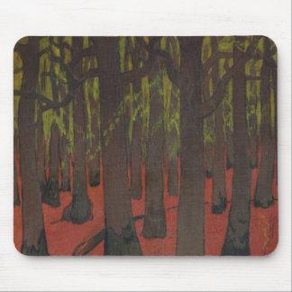 La forêt avec la terre rouge, c.1891 tapis de souris