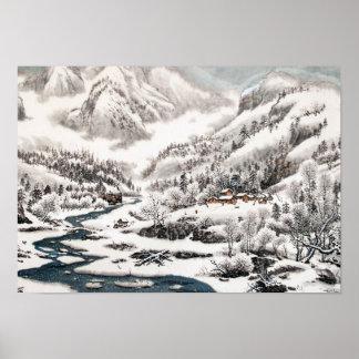 La forêt dans la neige, affiche de peinture posters