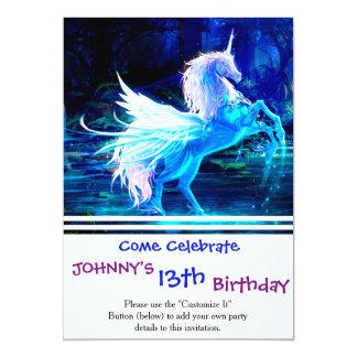 La forêt de licorne tient le premier rôle le bleu carton d'invitation  12,7 cm x 17,78 cm