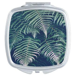 La fougère tropicale verte part du motif naturel miroirs de maquillage