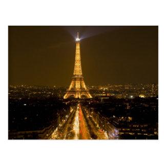 La France, Paris. Vue de nuit de Tour Eiffel Cartes Postales