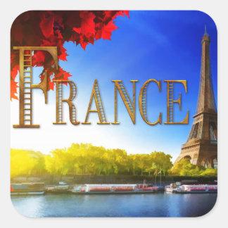 La France sur la Seine avec Tour Eiffel Sticker Carré