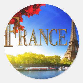 La France sur la Seine avec Tour Eiffel Sticker Rond