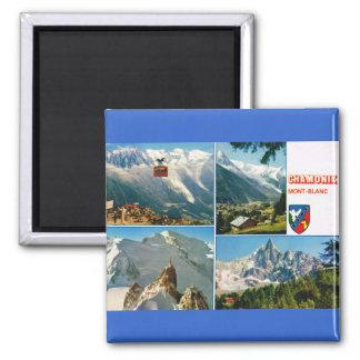 La France vintage, Chamonix, Mt Blanc Magnet Carré