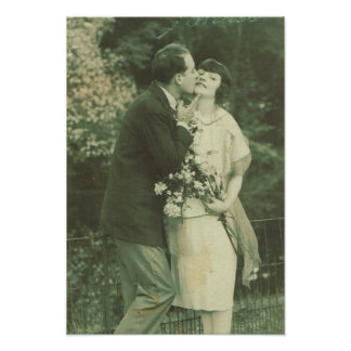 La France vintage, couples affectueux, baiser et Poster