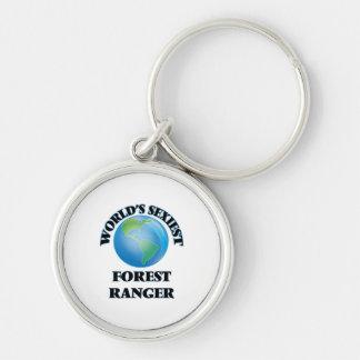 La garde forestier la plus sexy du monde porte-clé rond argenté