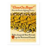 La garde nationale viennent sur la propagande des cartes postales