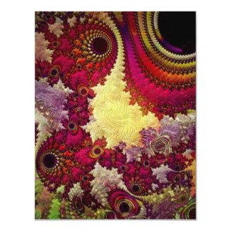 la géométrie abstraite extraordinaire de fractale carton d'invitation 10,79 cm x 13,97 cm