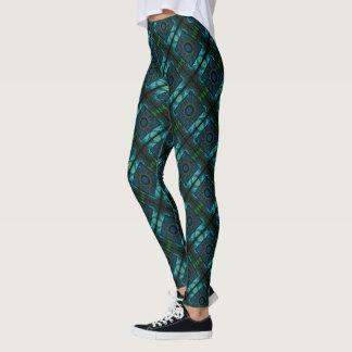 La géométrie bleue et verte leggings