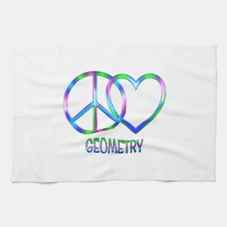 La géométrie brillante d'amour de paix serviettes pour les mains
