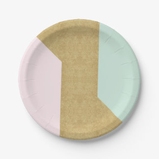 La géométrie en verre de Patel d'or rose en bon Assiettes En Papier