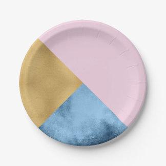 La géométrie métallique en verre de marine rose assiettes en papier
