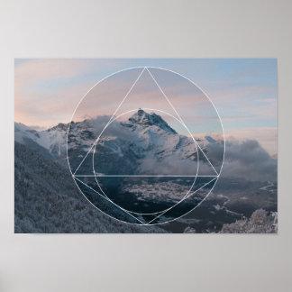 La géométrie sacrée contre. Les montagnes Posters