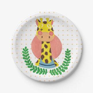 La girafe mignonne assiettes en papier