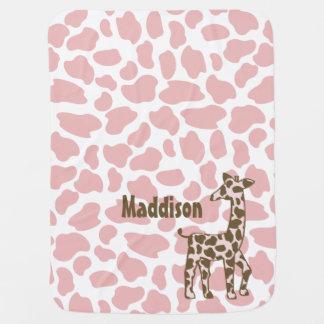 La girafe repère le rose et le Brown Couvertures Pour Bébé