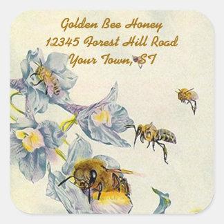 La gloire de matin d'abeilles de miel sticker carré
