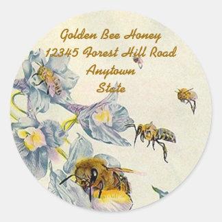 La gloire de matin d'abeilles de miel sticker rond