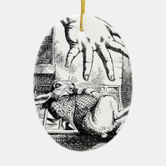 La grande main d'Alice Ornement Ovale En Céramique