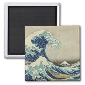 La grande vague outre de Kanagawa Magnet Carré