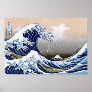 La grande vague outre de Kanagawa Poster