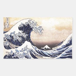 La grande vague outre de l'art de Japonais de Autocollants En Rectangle