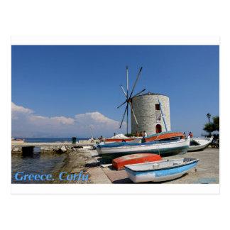 La Grèce, Corfou, vieux moulin à vent, carte