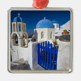 La Grèce et l'île grecque de la ville de Santorini Ornement Carré Argenté