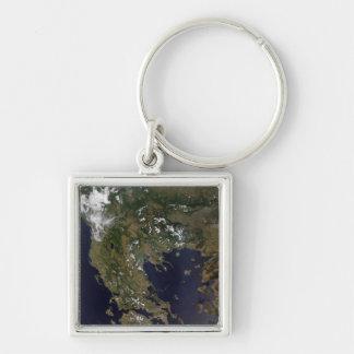 La Grèce et ses pays environnants Porte-clé Carré Argenté