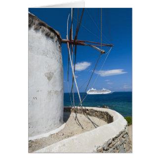 La Grèce, îles de Cyclades, Mykonos, vieux moulin Carte De Vœux