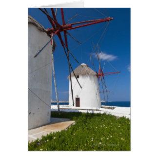 La Grèce, îles de Cyclades, Mykonos, vieux moulins Carte De Vœux
