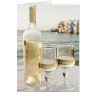 La Grèce, îles de Cyclades, Mykonos, vin sur la Carte De Vœux